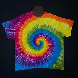 Spiral Tie Dye Short Sleeve Shirt With Red, Orange, Yellow, Green, Blue and Two Different Shades of Purple