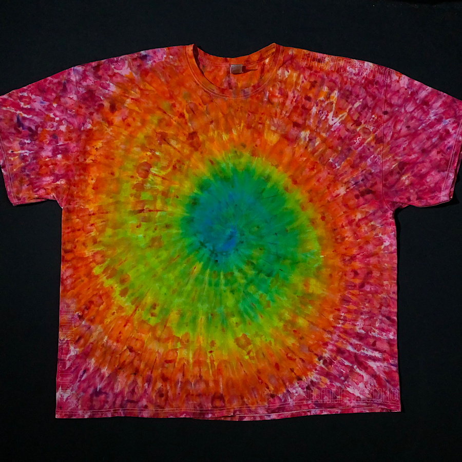Size 4XL tie dye short sleeve t-shirt featuring ice dyed spiral rainbow design with a blue center surrounded by green, yellow, orange, yellow and pink