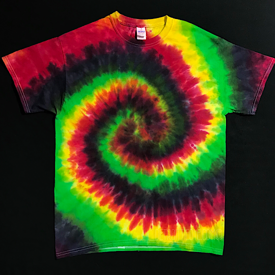 Black Rasta Spiral Tie Dye T-Shirt (Sizes SM-3XL)