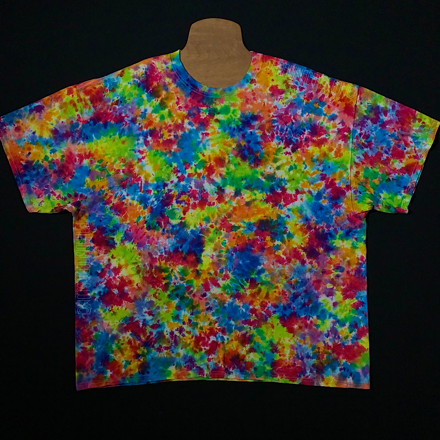 3XL short sleeve tie dye shirt featuring a painting-like splatter tie dye pattern with vibrant rainbow colors