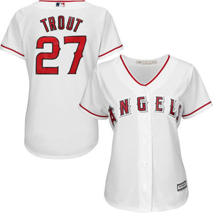 MLB Women s Los Angeles Angels Mike Trout White Home Cool Base Player Jersey 72f467700