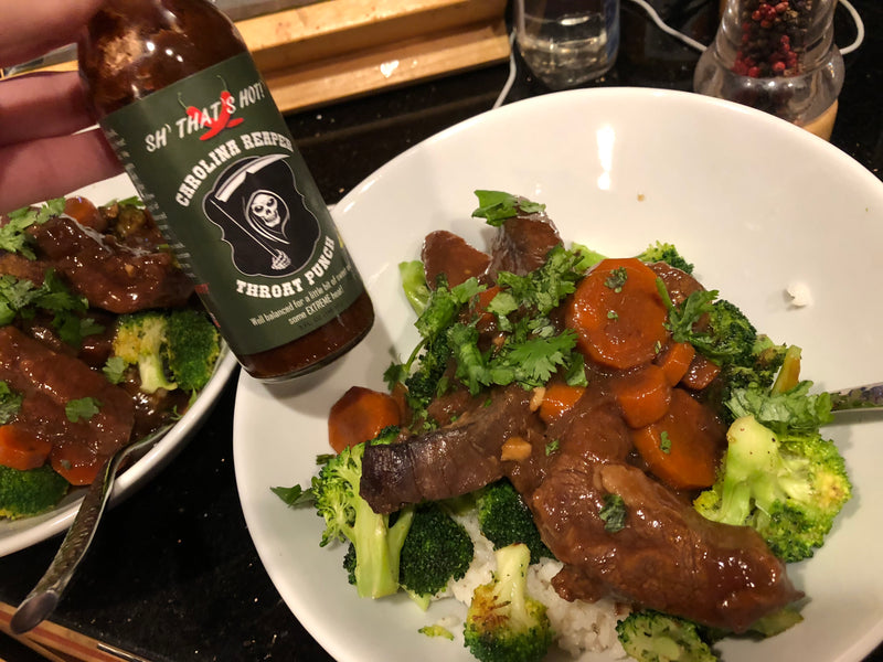 Spicy Mongolian Beef over Rice and Broccoli