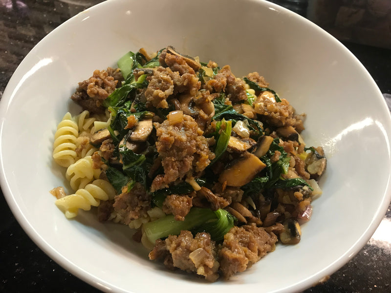 20min meal: Ginger, sausage & bok choy pasta with a kick