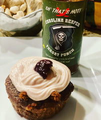 chocolate cherry cupcake picture with SH' That's Hot! Throat Punch sauce