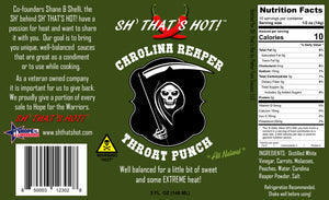 Carolina Reaper Throat Punch hot sauce