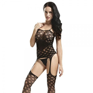 Diamond Netted Suspender Nylon Body Stocking Lingerie Set Black
