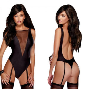 Backless See-through Teddy Lingerie Black