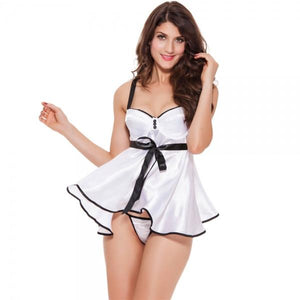 Top-grade Imitated Silk Fabric Steel Ring Chest Up Sexy Lingerie Nightdress White