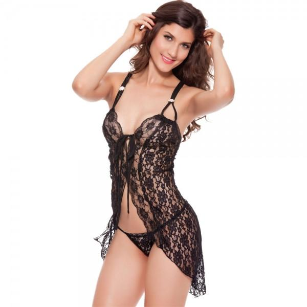 Falbala Open Front Sexy Lingerie Nightdress Sleepwear Black
