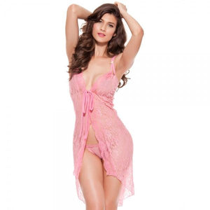 Falbala Open Front Sexy Lingerie Nightdress Sleepwear Rose Red