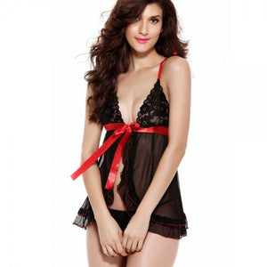 Low-Cut Sexy Lingerie Nightdress Sleepwear Pink