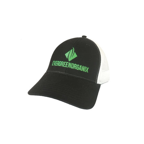 Evergreen Organix Semi-Curve Black and White 5-Panel Trucker