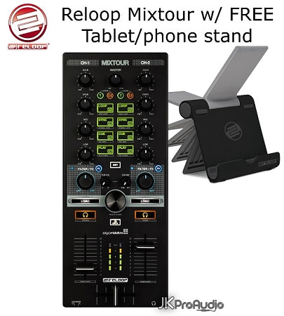 RELOOP MixTour Algoriddim DJ Controller for IOS, Android, or Laptop w/ FREE Stand