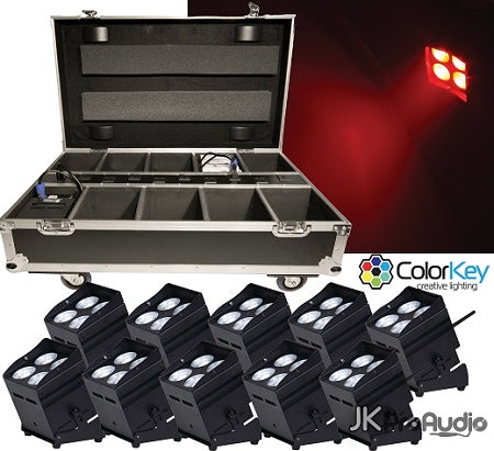 ColorKey MobilePar Hex 4 BLK bundle w/ 10 black fixtures and 1 Travel / Recharge Station