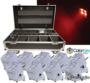 ColorKey MobilePar Hex 4 WHT bundle w/ 10 White fixtures and 1 Travel / Recharge Station