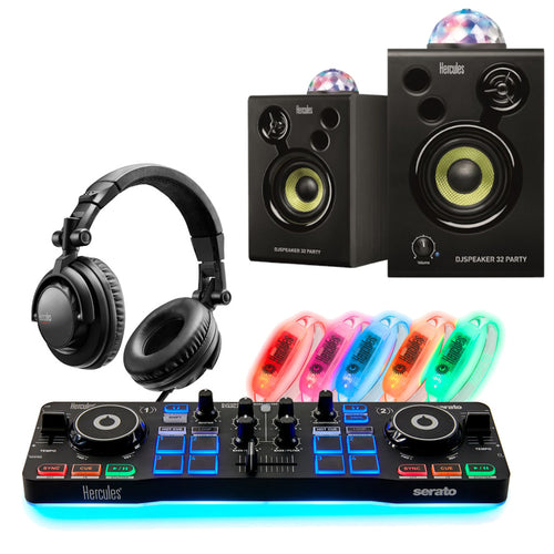 Hercules DJ Party Set w/ Starlight Serato DJ controller, Light Up Wrist Bands & Party Speakers