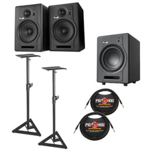 Fluid Audio F5 Fader Series Active Studio Monitor w/ F8 Sub, Studio Monitor Stands and FREE Cables