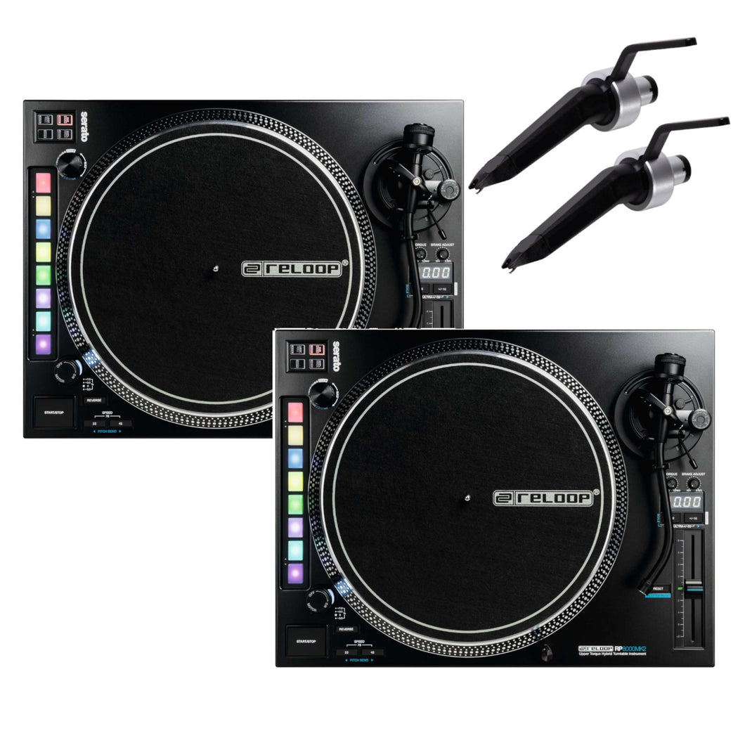 Reloop RP-8000mk2 (PAIR) Advanced Hybrid Turntable w/ MIDI feature section and FREE Ortofon Needles