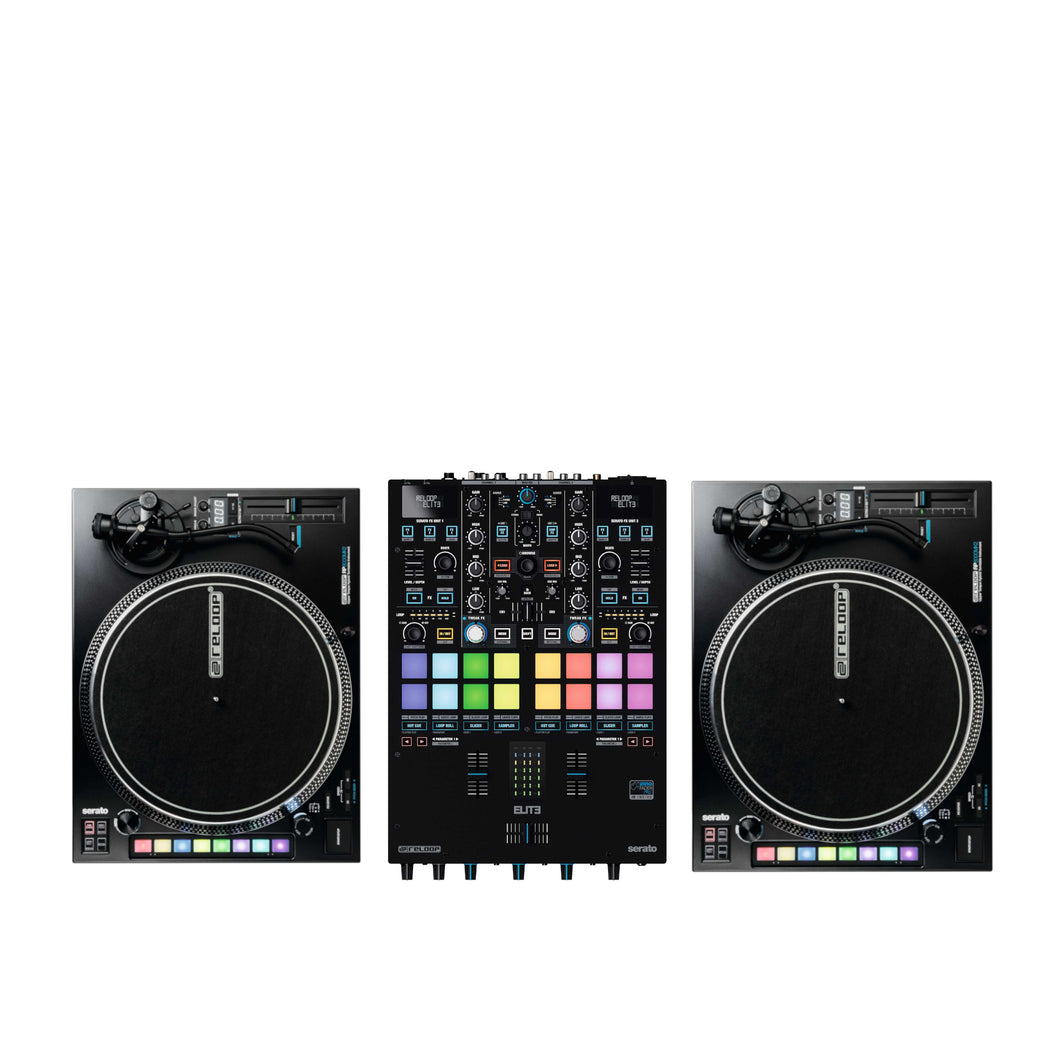 Reloop ELITE Two Channel Serato DJ Pro Mixer Bundle W/ Rp-8000mk2 Turntables