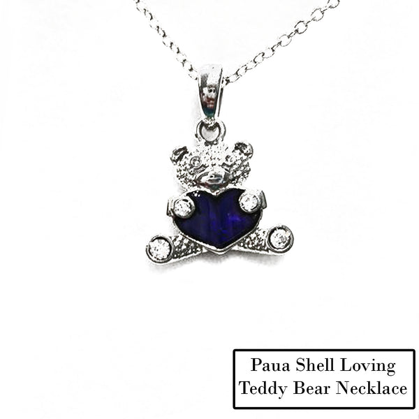 Paua Shell Loving Teddy Bear Necklace