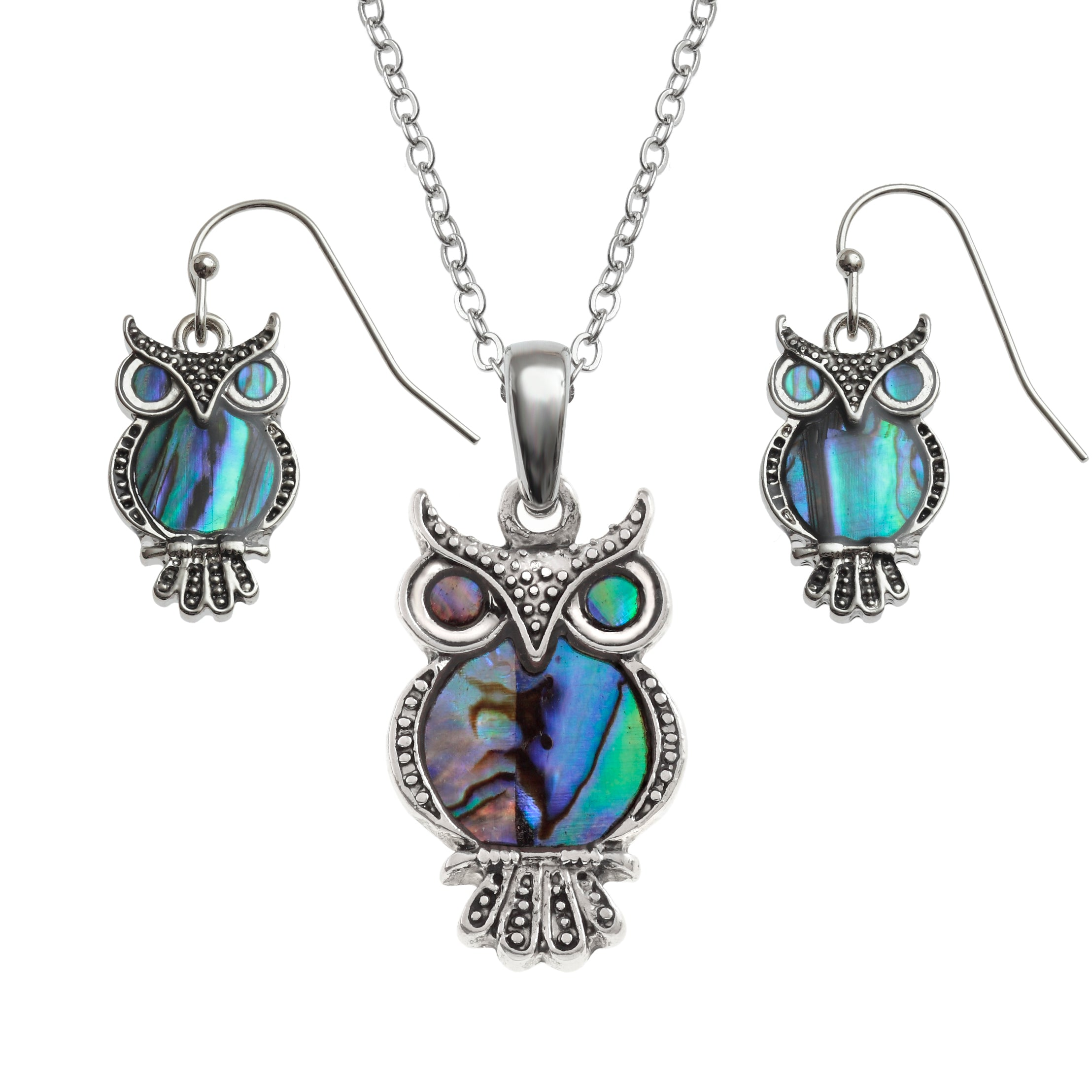Paua Shell Owl Necklace and Earring Set