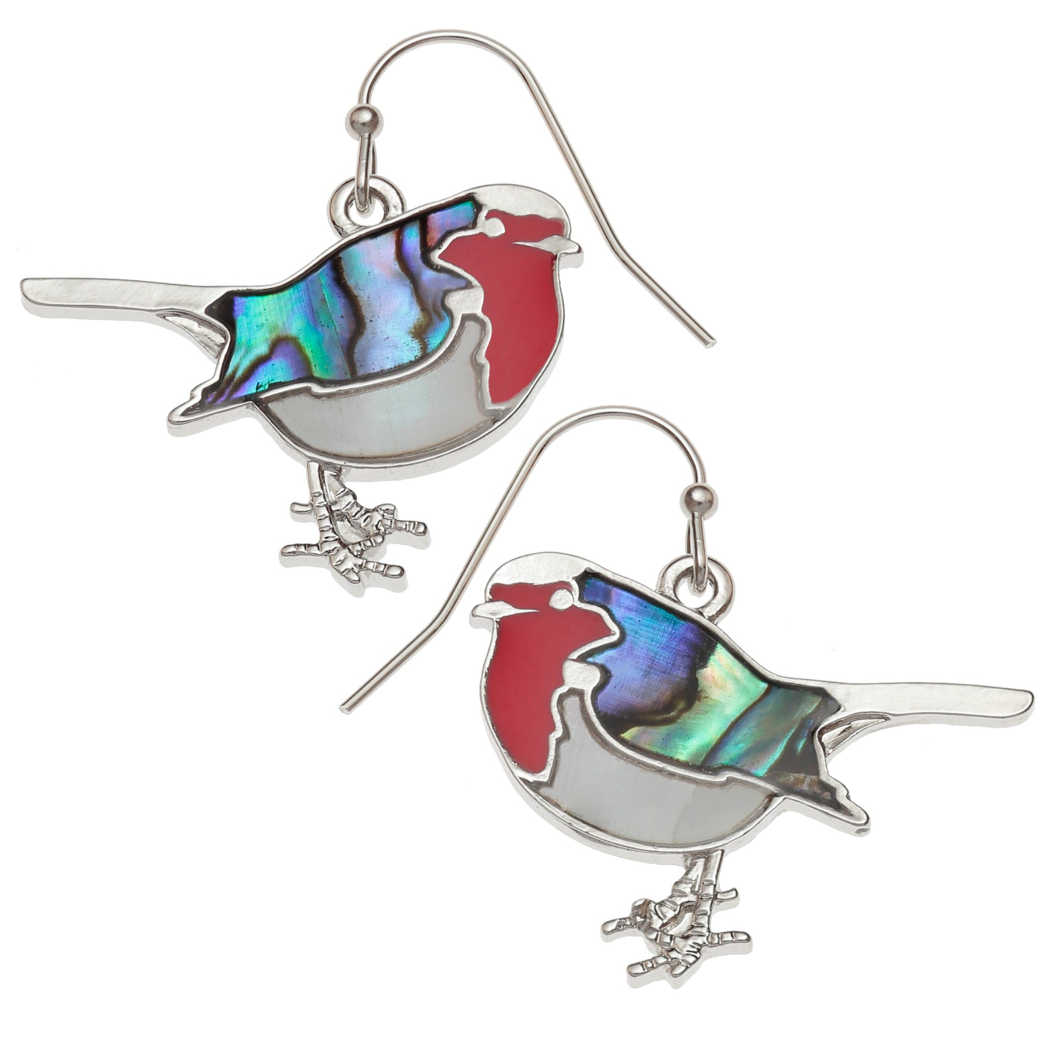Paua and Mother of Pearl Robin Earrings