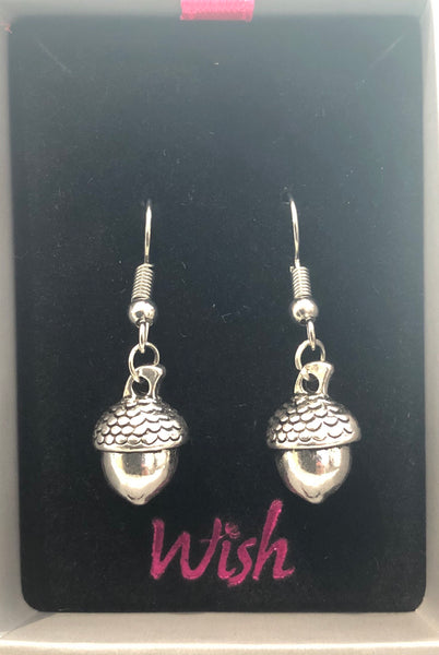 Silver Acorn Hook Earrings