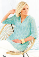Whitstable Stripe Aurelia Tunic - Turquoise NOW £29