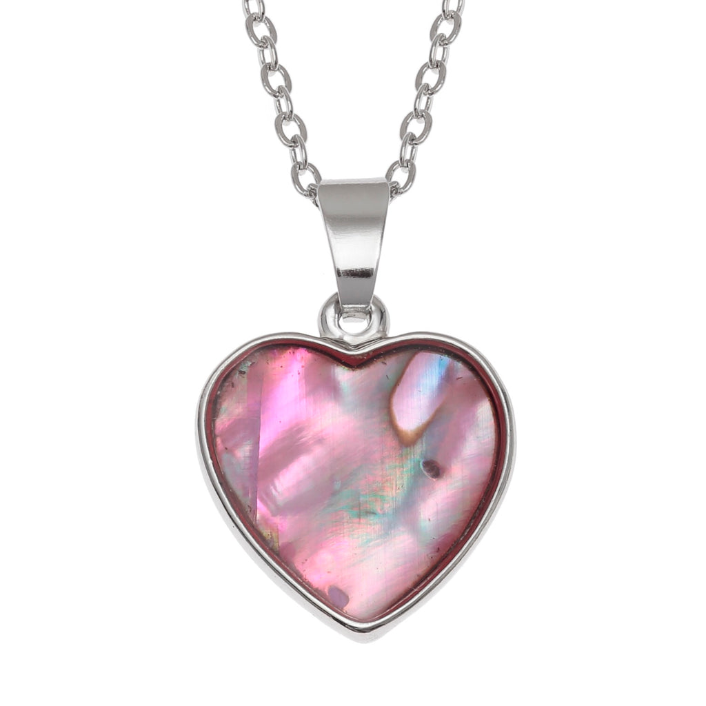 Pink Paua Shell Heart Necklace