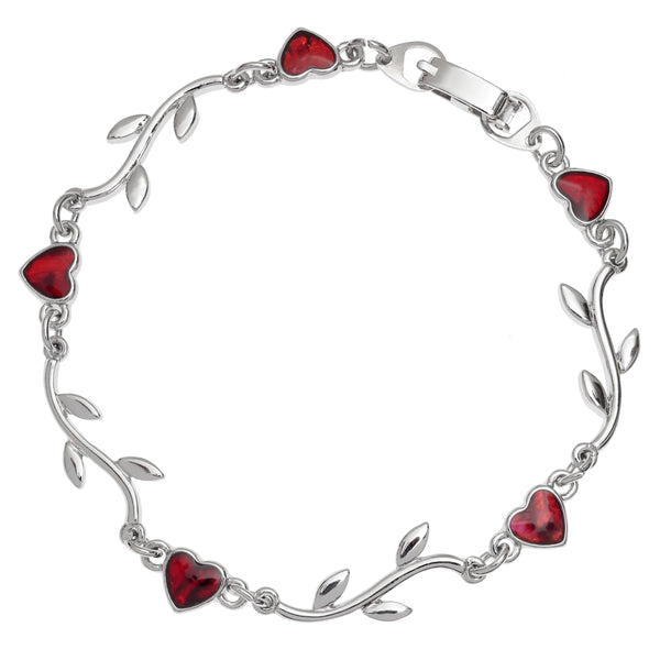 Red Paua Shell Heart and Branch Bracelet