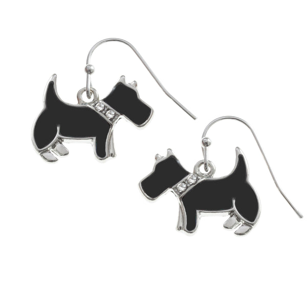 Black Westie Dog Earrings