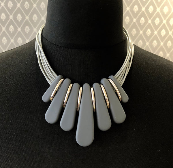 Grey and Rose Gold Statement Necklace