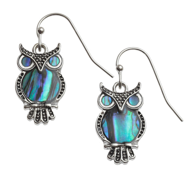 Paua Shell Owl Earrings