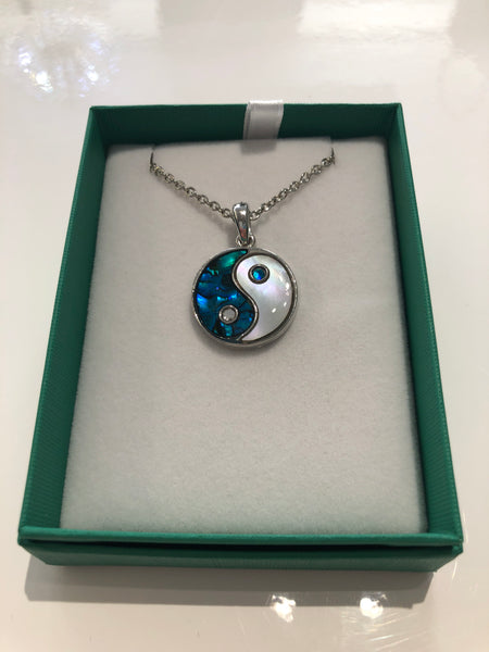 Paua Shell Ying Yang Necklace