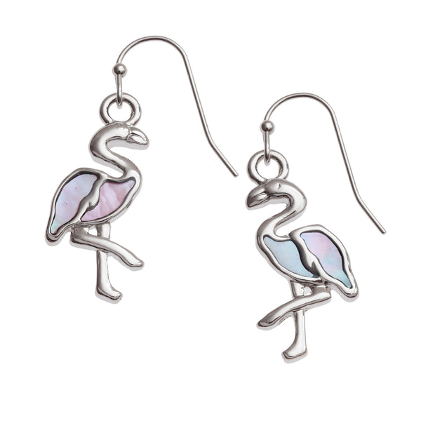 Pink Mother of Pearl Shell Flamingo Earrings