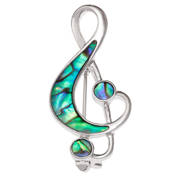 Paua Shell Treble Clef Brooch