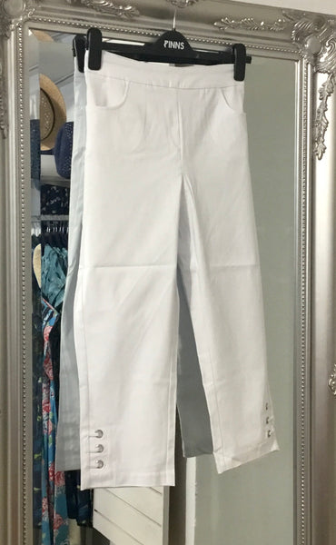 White Crop Bengaline Trousers