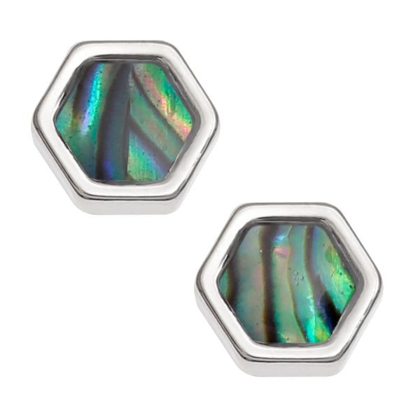 Paua Shell Rectangle Honeycomb Stud Earrings