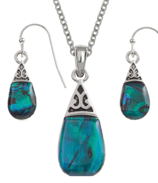 Paua Shell Pear Necklace and Earrings Set