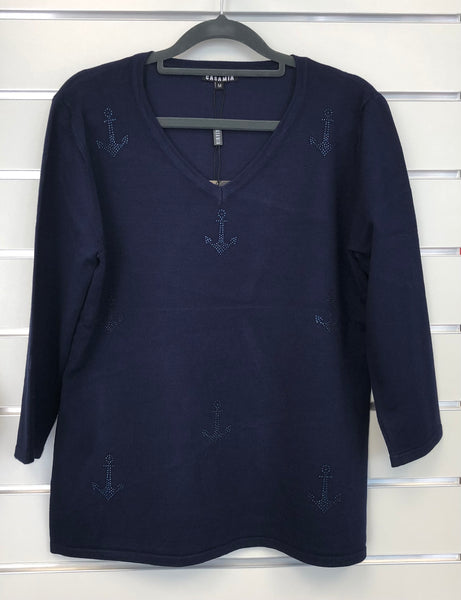 Anchor V-neck Jumper