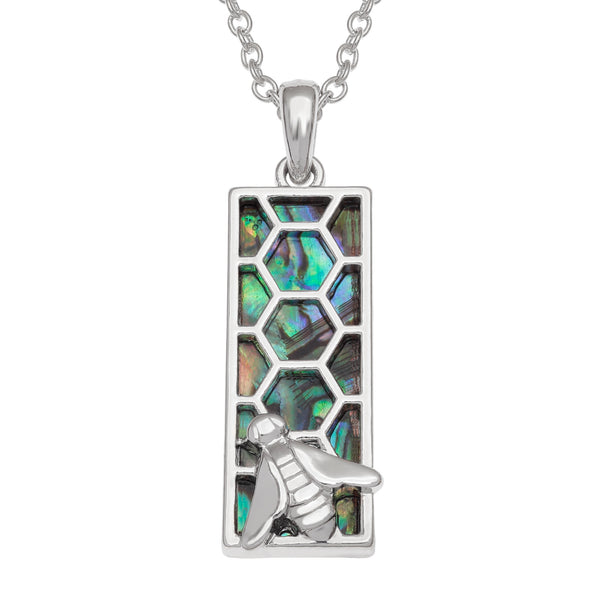 Paua Shell Honeycomb & Bee Necklace