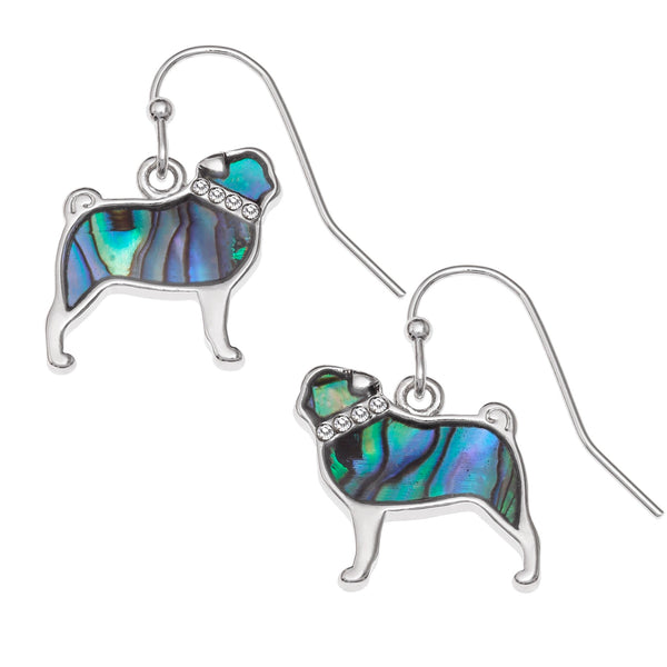 Paua Shell Pug Hook Earrings