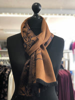 Reversible Tiger Print Frayed Scarf