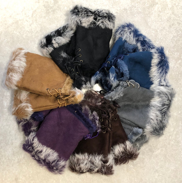 Faux Fur Trim Mittens
