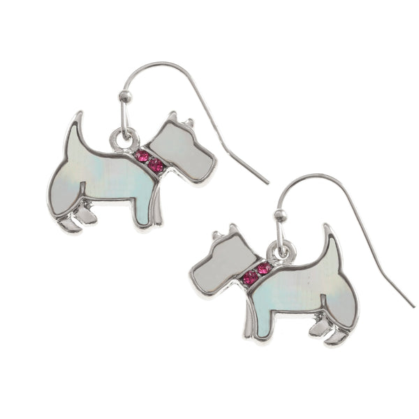 Mother of Pearl Westie Dog Earrings