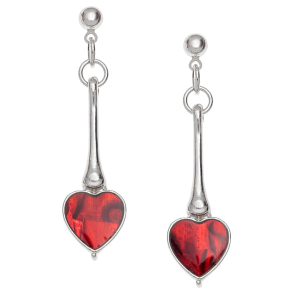 Red Paua Shell Long Heart Stud Earrings