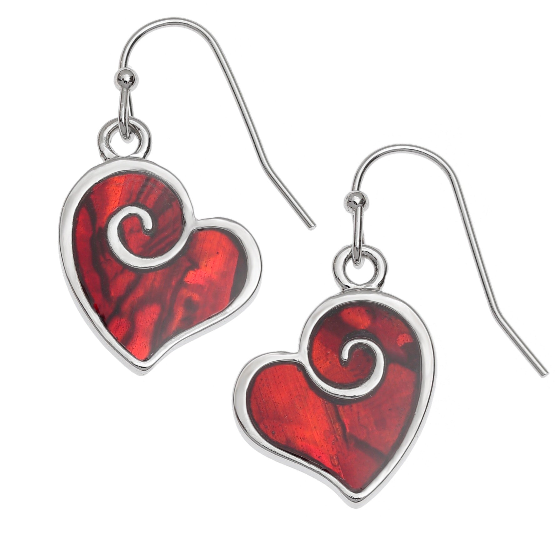Paua Shell Red Heart Swirl Earrings