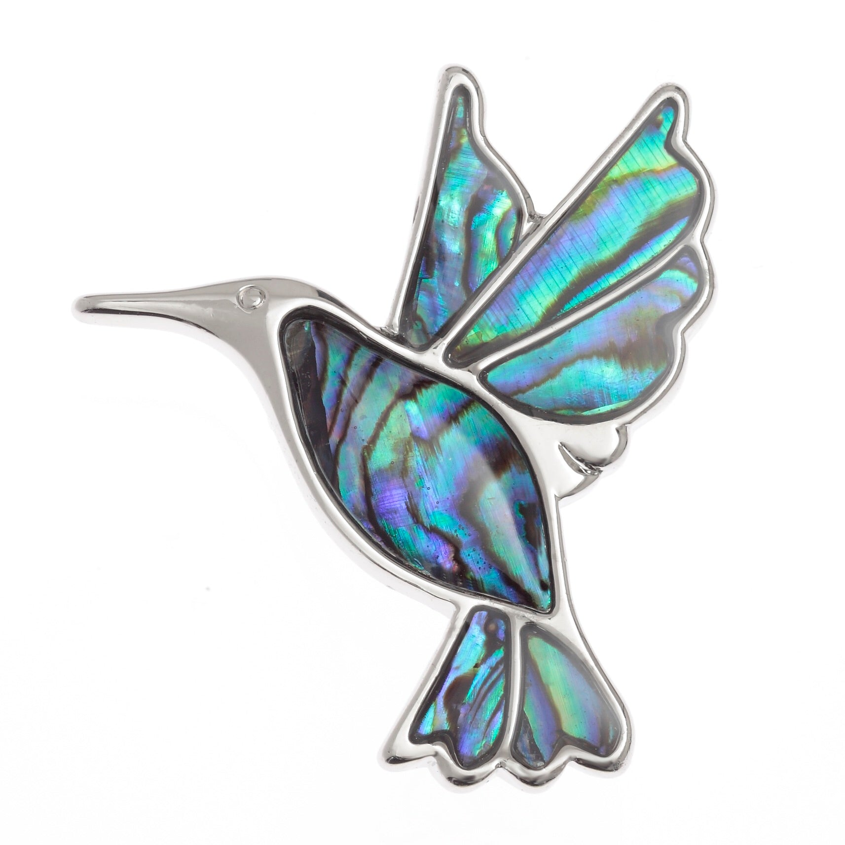Paua Shell Hummingbird Brooch