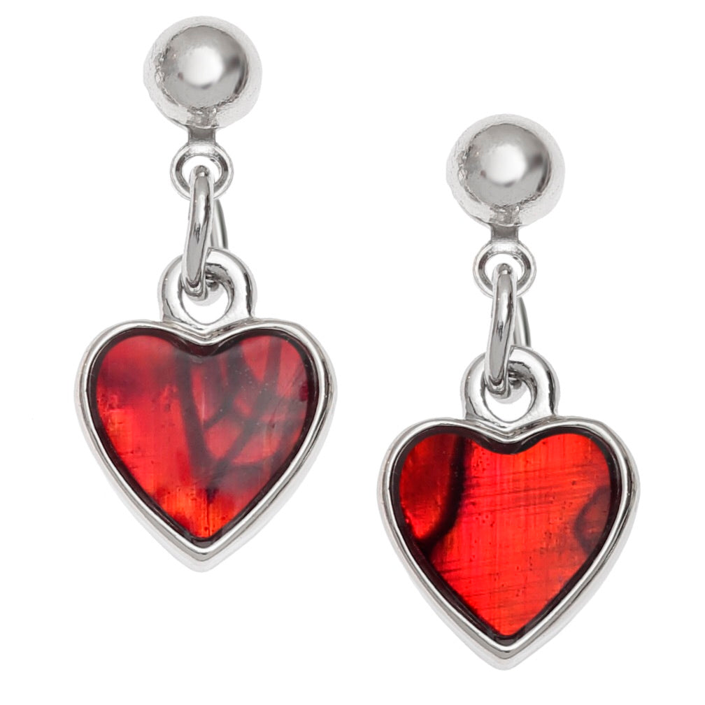 Paua Shell Red Heart Drop Earrings