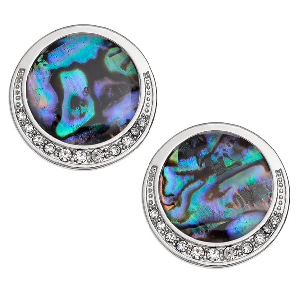 Paua Shell Large Clip on Earrings